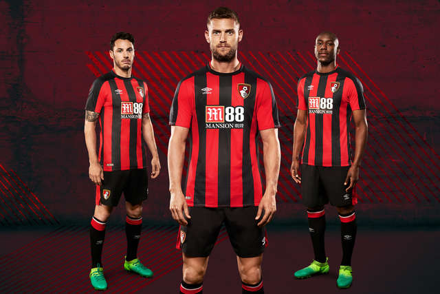 From left to right: Adam Smith, Simon Francis and Benik Afobe all pose in the newly released AFC Bournemouth home shirt for 2017/18.